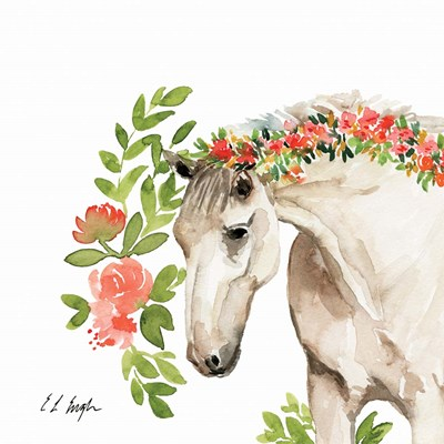 Peach Floral Horse art print by Elise Engh for $45.00 CAD