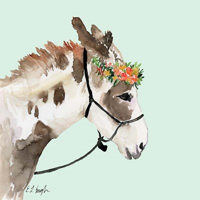 Pony with Floral Crown - Mint Background art print by Elise Engh for $45.00 CAD
