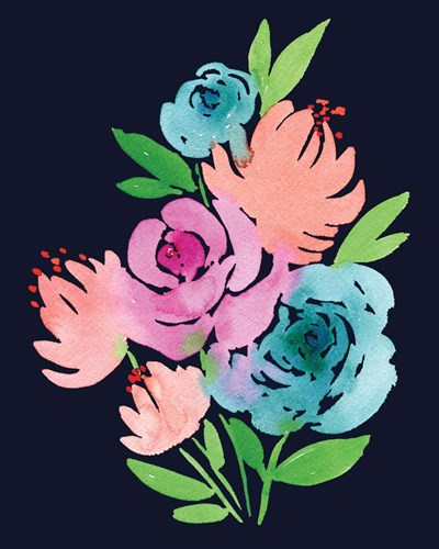 Navy Watercolor Floral I art print by Elise Engh for $40.00 CAD