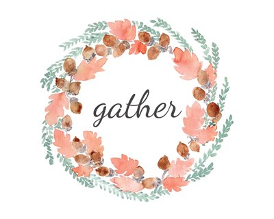 Gather Fall Wreath art print by Elise Engh for $40.00 CAD