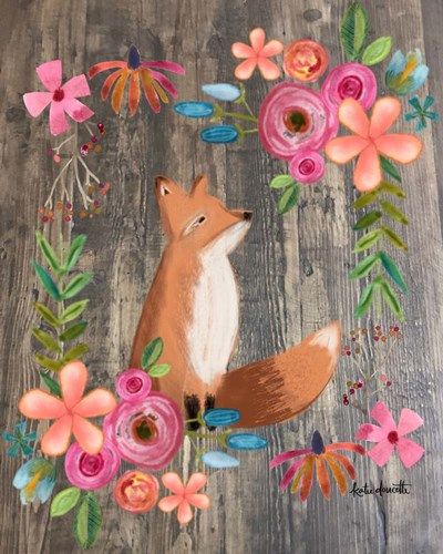 Floral Fox on Wood art print by Katie Doucette for $40.00 CAD