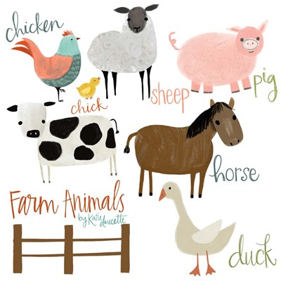 Farm Animals art print by Katie Doucette for $48.75 CAD