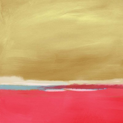 Coral and Gold Landscape I art print by Linda Woods for $48.75 CAD