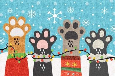 Christmas Paws art print by ND Art & Design for $43.75 CAD