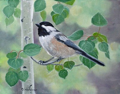 Chickadee in Aspen Tree art print by Julie Peterson for $42.50 CAD