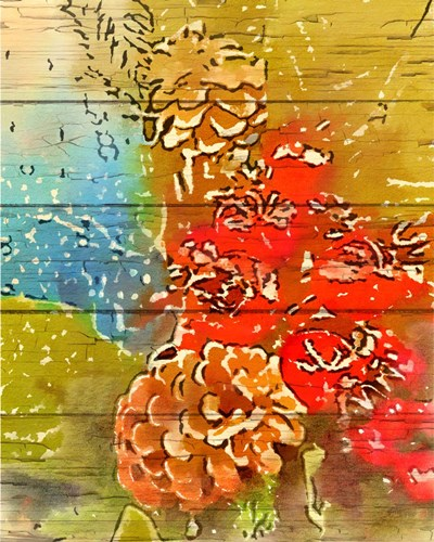 Pinecone and Berries art print by Ramona Murdock for $40.00 CAD