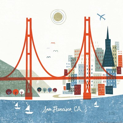 Colorful San Francisco art print by Michael Mullan for $112.50 CAD