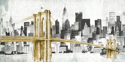 New York Skyline I Yellow Bridge no Words art print by Avery Tillmon for $55.00 CAD