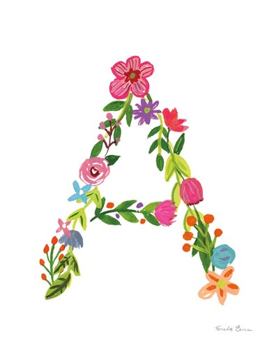 Floral Alphabet Letter I art print by Farida Zaman for $37.50 CAD