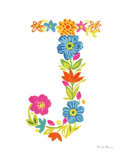 Floral Alphabet Letter X art print by Farida Zaman for $37.50 CAD