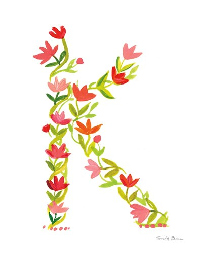 Floral Alphabet Letter XI art print by Farida Zaman for $37.50 CAD