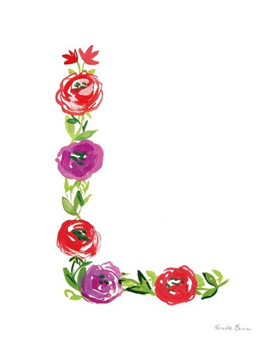 Floral Alphabet Letter XII art print by Farida Zaman for $37.50 CAD