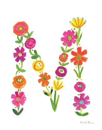 Floral Alphabet Letter XIII art print by Farida Zaman for $37.50 CAD
