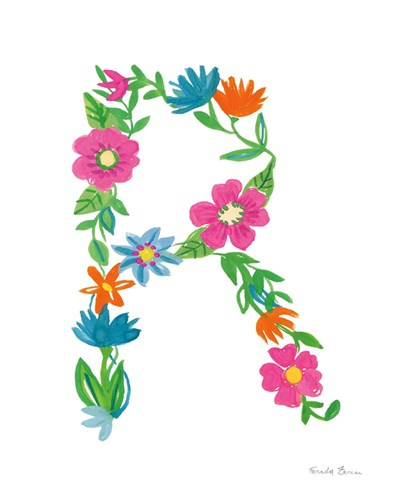 Floral Alphabet Letter XVIII art print by Farida Zaman for $37.50 CAD