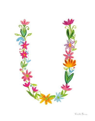 Floral Alphabet Letter XXI art print by Farida Zaman for $37.50 CAD