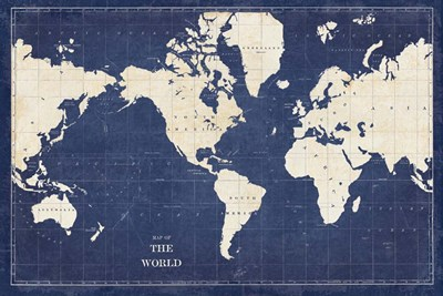 Blueprint World Map art print by Sue Schlabach for $46.25 CAD