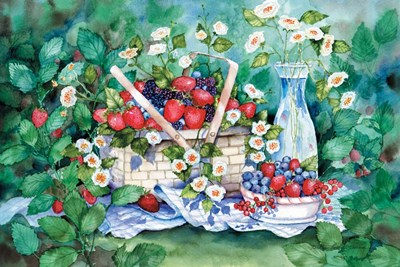 Strawberry Picnic art print by Kathleen Parr McKenna for $28.75 CAD