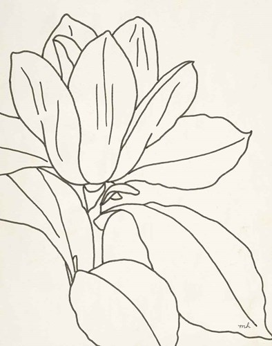 Magnolia Line Drawing v2 Crop art print by Moira Hershey for $41.25 CAD