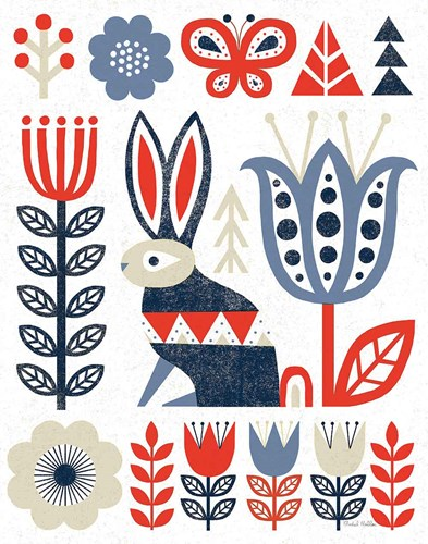Folk Lodge Rabbit Red Navy art print by Michael Mullan for $58.75 CAD