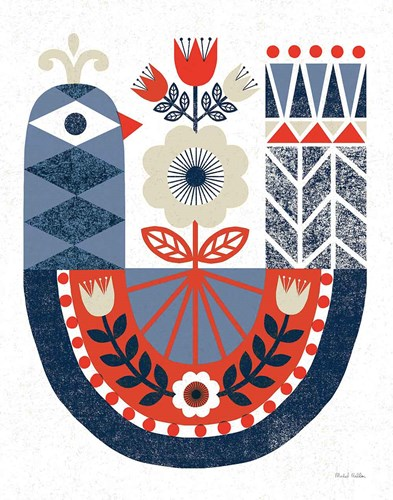 Folk Lodge Bird Red Navy art print by Michael Mullan for $58.75 CAD
