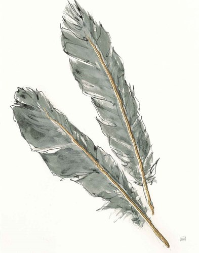Gold Feathers III Green art print by Chris Paschke for $58.75 CAD