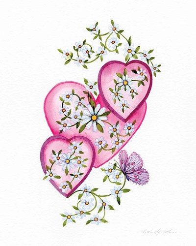 Hearts and Flowers I art print by Kathleen Parr McKenna for $41.25 CAD