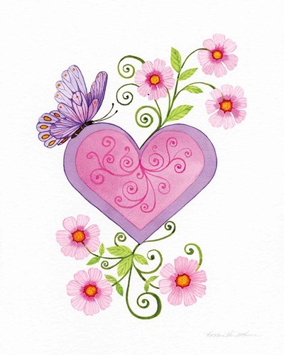 Hearts and Flowers IV art print by Kathleen Parr McKenna for $41.25 CAD
