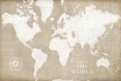 Burlap World Map I art print by Sue Schlabach for $65.00 CAD