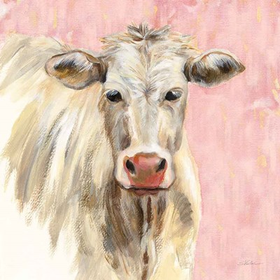 White Cow on Pink art print by Silvia Vassileva for $67.50 CAD