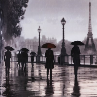 Paris Red Umbrella art print by Robert Canady for $78.75 CAD