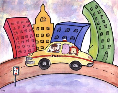 Taxi Cab art print by Serena Bowman for $25.00 CAD